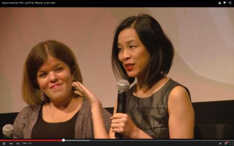 Panelists Becky Curran and Lia Chang at a special screening of 72 Hour Shootout films and panel discussion at the Time Warner Theater in New York on October 7, 2015.