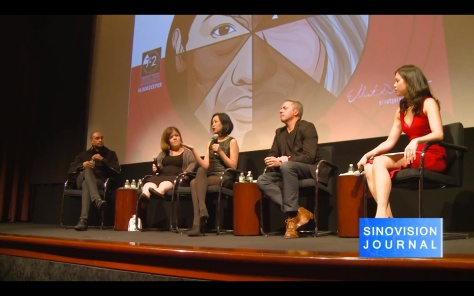 Panelists Blue Michael, Becky Curran, Lia Chang, Rick Guidotti and moderator Jennifer Betit Yen at a special screening of 72 Hour Shootout films and panel discussion at the Time Warner Theater in New York on October 7, 2015. Photo: Sinovision
