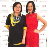 Elite Magazine publisher Ellen Wang, and Lia Chang at the SK-II Pop-up Studio in New York on October 22, 2015. Photo by Garth Kravits
