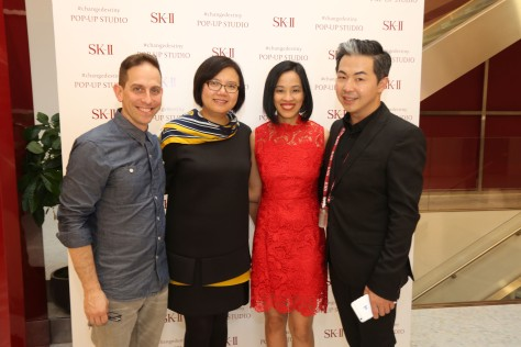 Garth Kravits, Elite Magazine publisher Ellen Wang, Lia Chang and Steve Jan, SK-II National Brand Ambassador at the SK-II Pop-up Studio in New York on October 22, 2015. Photo: Elite Magazine