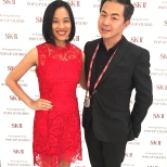 Lia Chang and Steve Jan, SK-II National Brand Ambassador at the SK-II Pop-up Studio in New York on October 22, 2015. Photo by Garth Kravits