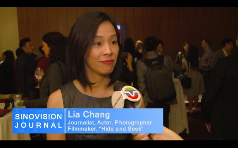 Award-winning filmmaker Lia Chang being interviewed after a special screening of 72 Hour Shootout films and panel discussion at the Time Warner Theater in New York on October 7, 2015. Photo: Sinovision