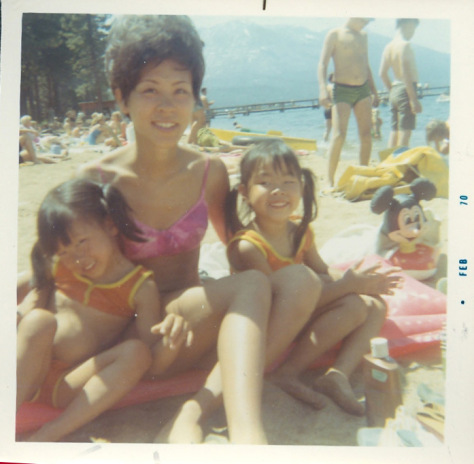 Fun in the sun with mom and sister Tami in Lake Tahoe in 1970. Photo by Russell Chang