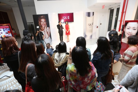 Steve Jan, SK-II National Brand Ambassador and Lia Chang at the SK-II Pop-up Studio in New York on October 22, 2015. Photo Elite Magazine