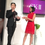 Steve Jan, SK-II National Brand Ambassador and Lia Chang at the SK-II Pop-up Studio in New York on October 22, 2015. Photo Elite Magazine