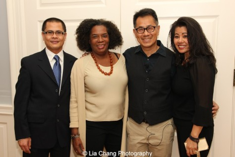 Filmmaker Arthur Dong _in vest) with (L-R) Wayne Ngor, nephew of the late Dr. Ngor, casting director Pat Golden who cast Dr. Ngor in The Killing Fields, and Sophia Ngor, niece of the late Dr. Ngor, at a screening of The Killing Fields of Dr. Haing S. Ngor at the International House in New York on October 22, 2015. Photo by Lia Chang