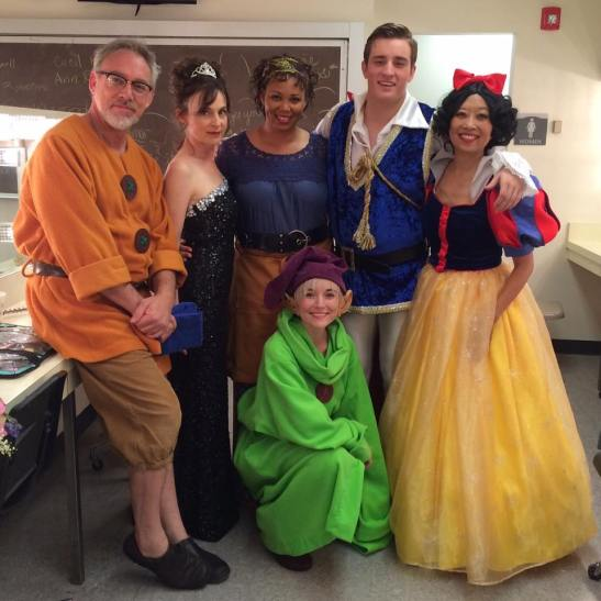 Jeanne Sakata with her cast in the dressing room of the LAPC Theatre production of Vanya and Sonia and Masha and Spike.