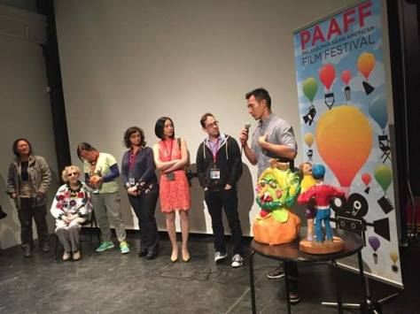 Pangia Pangia, Romaine Samworth, Eiko Fan, Lila Yomtoob, Lia Chang, Garth Kravits and Eddie Shieh at the Asian Arts Initiative in Philadelphia after the PAAFF'15 screening of the Women's Shorts Program on November 21, 2015. Photo by Rob Buscher