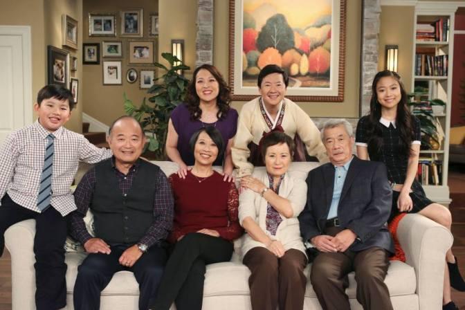 (seated) Albert Tsai, Clyde Katsuda, Jeanne Sakata, Alexis Rhee, Dana Lee; (standing) Suzy Nakamura, Ken Jeong and Krista Marie Yu on 'Dr. Ken'.