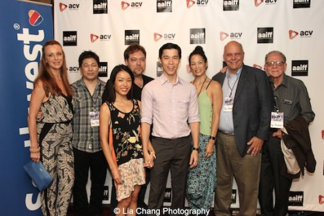 Nicole Watson, David Tsuboi, Michelle Tobin, Dax Phelan, Jason Tobin, Eugenia Yuan, Jon Anderson and guest attend the #AAIFF2015 screening of Jasmine at Village East Cinema in New York on July 30, 2015. Photo by Lia Chang