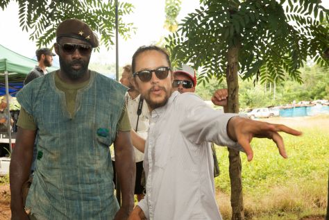 Idris Elba and director Cary Fukunaga on the set of Beasts of No Nation. (Netflix)