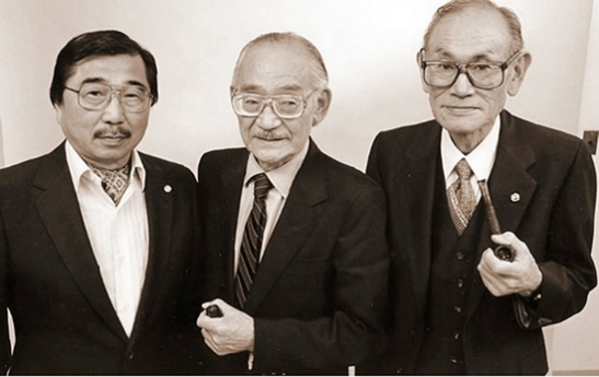 Fellow coram nobis plaintiffs Gordon Hirabayashi, Min Yasui and Fred Korematsu in 1983. The trio challenged the legality of the wartime exclusion and incarceration of Japanese Americans. (Photo by Bob Hsiang Photography)