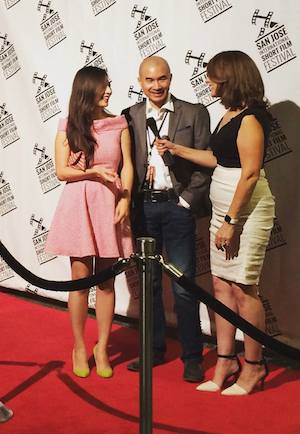 Katherine Park and Ed Moy on the red carpet at the 2015 San Jose International Short Film Festival on October 23, 2015. Photo courtesy of Ed Moy