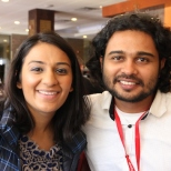 Reema Kanzaria and Rishi Bhilawadikar, writer and producer of FOR HERE OR TO GO? Photo by Lia Chang