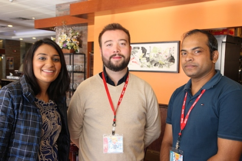PAAFF'15 Guest Services Coordinator Reema Kanzaria and Festival Director/Programmer Rob Buscher and Abu Shahed Emon (Jalal's Story). Photo by Lia Chang