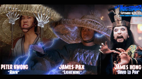 'Big Trouble in Little China' trio Peter Kwong (Rain), James Pax (Lightning) and James Hong (David Lo Pan).