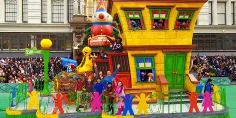 Alan Muraoka and Co. on the Sesame Street float in the Macy's Thanksgiving Day Parade in New York on November 26, 2015. Photo by Lia Chang