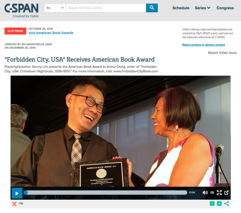 Arthur Dong receives the American Book Award from poet/playwright Genny Lim at the 36th Annual American Book Awards ceremony at the San Francisco Jazz Center on October 25, 2015. Photo by Lorraine Dong
