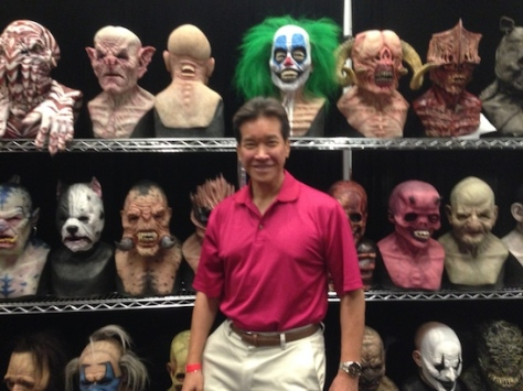Peter Kwong and the Masks of Monsterpalooza at Son of Monsterpalooza in Burbank on September 19, 2015.