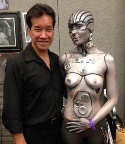 Peter Kwong, and model, Body Art by Hyewon Ahnat at Son of Monsterpalooza in Burbank on September 19, 2015.