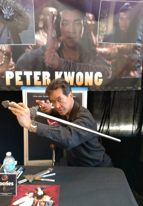 Peter Kwong shows off Rain's sword at Son of Monsterpalooza in Burbank on September 19, 2015.