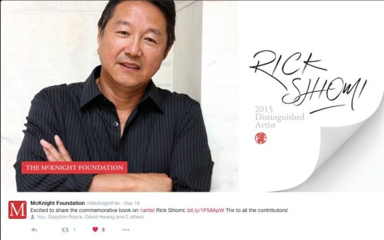 The cover of the commemorative book for 2015 McKnight Distinguished Artist Rick Shiomi. Photo by Lia Chang
