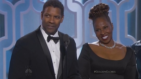 Denzel Washington and his wife Pauletta Pearson Washington, Winner, Cecil B. Demille Award at the 73rd Annual GOLDEN GLOBE AWARDS held at the Beverly Hilton Hotel on January 10, 2016.