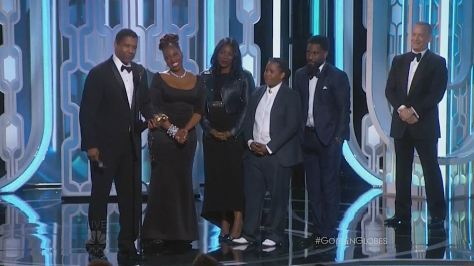 Denzel Washington, Winner, Cecil B. Demille Award, his wife Pauletta Pearson Washington, and their children Olivia Washington, Katia Washington and John David Washington, and his 'Philadelphia' co-star Tom Hanks at the 73rd Annual GOLDEN GLOBE AWARDS held at the Beverly Hilton Hotel on January 10, 2016.
