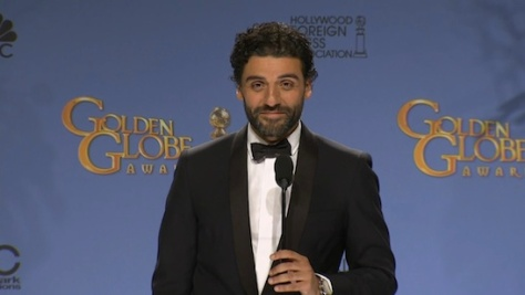 Golden Globe winner Oscar Isaac in the press room at the 73rd Annual GOLDEN GLOBE AWARDS held at the Beverly Hilton Hotel on January 10, 2016.
