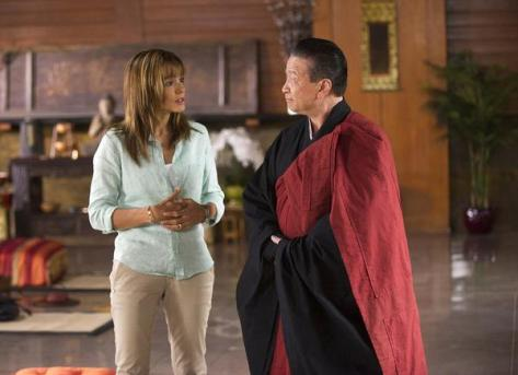 Grace Truman (Stephanie Szostak) and the Zen Master (Tzi Ma) in Satisfaction. (c) USA Network