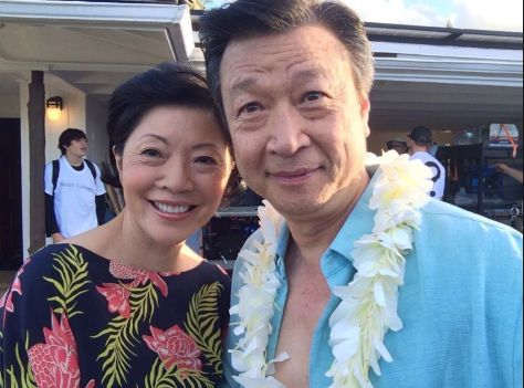 "Elizabeth Sung and Tzi Ma on location Hawaii for ""Pali Road""."