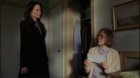 "Lucy Liu and Elizabeth Sung in ""Elementary""."