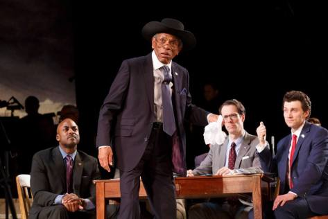 Terence Archie (Dr. Joshiah Bartlett), André De Shields (Stephen Hopkins), Laird Mackintosh (James Wilson), and Bryce Pinkham (John Dickinson). Photo by Joan Marcus.