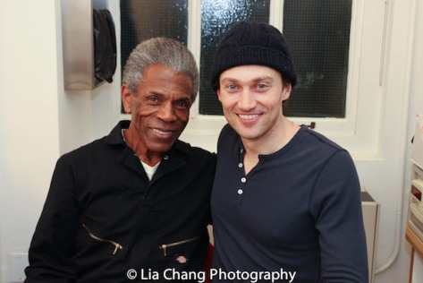 """André De Shields and Bryce Pinkham backstage after the dress rehearsal of """"1776"""" at New York City Center on March 29, 2016. Photo by Lia Chang"""