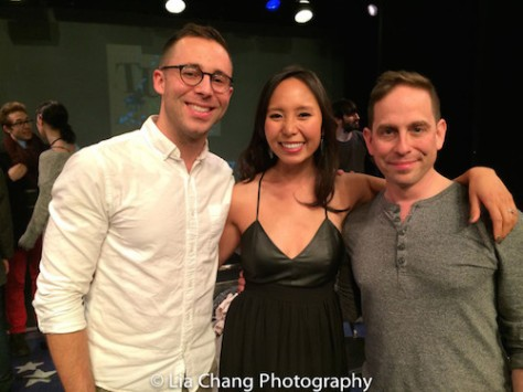 Benjamin Halstead, Emily Borromeo and Garth Kravits and TUNE IN TIME at the York Theatre in New York on March 14, 2016. Photo by Lia Chang