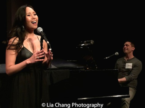 "Emily Borromeo performs a duet with Garth Kravits of his new original song ""That Man"" from M: THE MUSICAL at TUNE IN TIME at York Theatre in New York on March 14, 2016. Photo by Lia Chang"