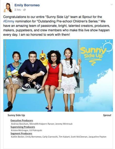 "Kaitlin Becker, Tim Kubart, Chica, Carly Ciarrocchi, Emily Borromeo of ""Sunny Side Up"". Photo: Sprout"