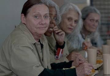 Dale Soules (left, front) – from ORANGE IS THE NEW BLACK – Photo courtesy NETFLIX