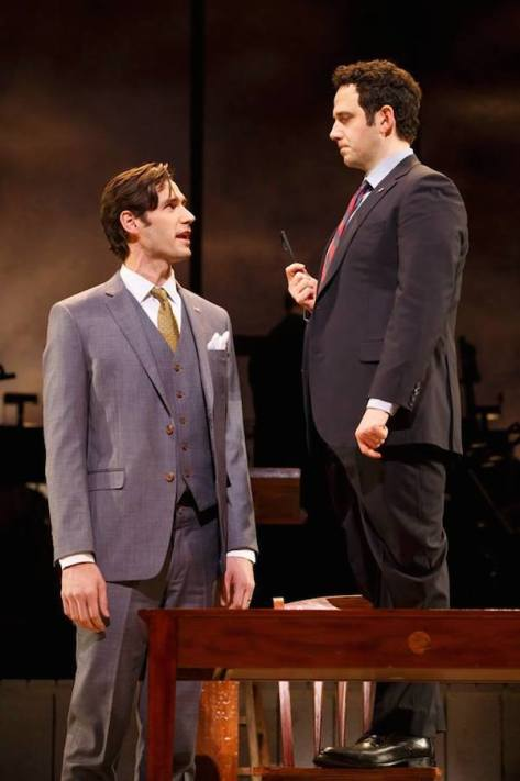 John Behlmann (Thomas Jefferson), and Santino Fontana (John Adams) Photo by Joan Marcus.