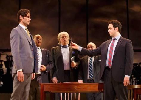 John Behlmann (Thomas Jefferson), Wayne Pretlow (Roger Sherman), John Larroquette (Benjamin Franklin), Jacob Keith Watson (Robert Livingston), and Santino Fontana (John Adams). Photo by Joan Marcus.