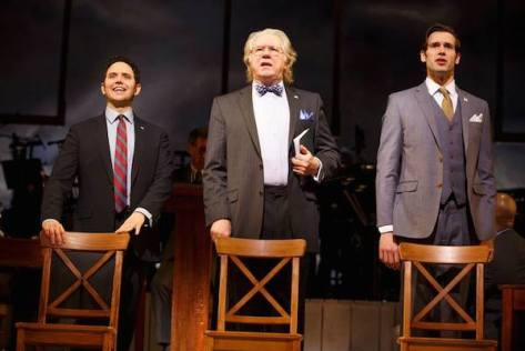 Santino Fontana (John Adams), John Larroquette (Benjamin Franklin), John Behlmann (Thomas Jefferson). Photo by Joan Marcus