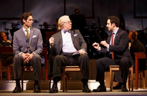 Santino Fontana (John Adams), John Larroquette (Benjamin Franklin), John Behlmann (Thomas Jefferson). Photo by Joan Marcus.