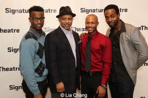"""Sheldon Best, Ruben Santiago-Hudson, Emmanuel """"Manny"""" Brown and Clifton Duncan at the opening night party for David Henry Hwang's """"Kung Fu"""" at Pershing Square Signature Center in New York on February 24, 2014. Photo by Lia Chang"""