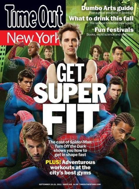 """Cast members of the Broadway production of """"Spider-Man: Turn Off the Dark."""" Dale May for Time Out New York"""