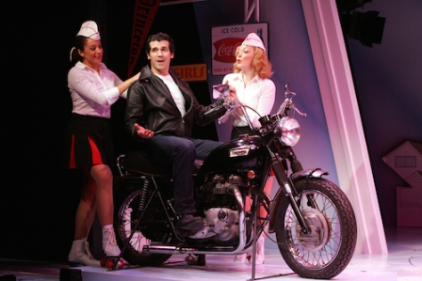 "Andrea Dora, Joey Sorge and Lauren Parson in Goodspeed Musical's ""Happy Days"". Photo by Diane Sobolewski"