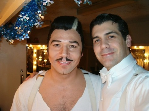 Danny Burstein and Joey Sorge backstage at the Ahmanson Theatre at the Music Center in Los Angeles in 2004. Photo courtesy of Joey Sorge