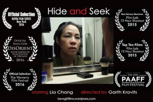 HIDE AND SEEK Starring Lia Chang and Garth Kravits Among 14 Short Films Competing in 2016 Katra Film Series – 2nd Round in New York on July 16; Facebook Live Interviews with Finalists