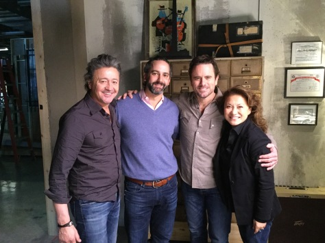 """On the set of """"Nashville"""" (from left): Mark Collie, who plays Frankie Gray and is a country hitmaker in real life; Taylor Hamra, writer and co-executive producer; Charles Esten, who plays Deacon Claybourne; and director Lily Mariye. (Photo courtesy Lily Mariye)"""