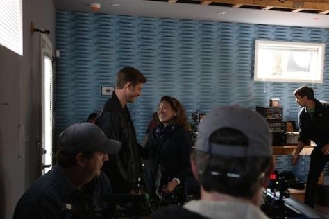 "Lily Mariye on the set of ""Nashville"" with Chris Carmack, who plays rising country star Will Lexington. (Photo courtesy of Lily Mariye)"
