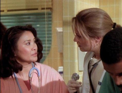 "Lily Mariye and Sherry Stringfield on ""ER""."